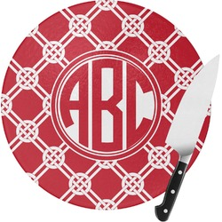 Celtic Knot Round Glass Cutting Board - Small (Personalized)
