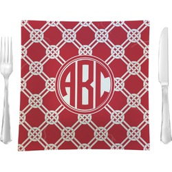 """Celtic Knot 9.5"""" Glass Square Lunch / Dinner Plate- Single or Set of 4 (Personalized)"""
