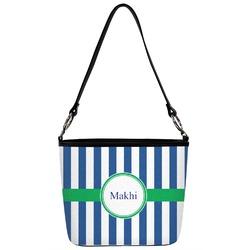 Stripes Bucket Bag w/ Genuine Leather Trim (Personalized)