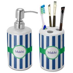 Stripes Ceramic Bathroom Accessories Set (Personalized)