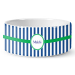 Stripes Ceramic Dog Bowl (Personalized)