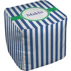 Stripes Cube Pouf Ottoman (Personalized)