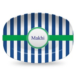 Stripes Plastic Platter - Microwave & Oven Safe Composite Polymer (Personalized)