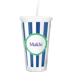 Stripes Double Wall Tumbler with Straw (Personalized)
