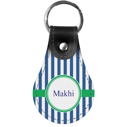 Stripes Genuine Leather  Keychain (Personalized)