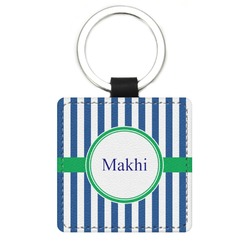 Stripes Genuine Leather Rectangular Keychain (Personalized)