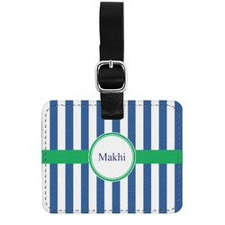 Stripes Genuine Leather Rectangular  Luggage Tag (Personalized)
