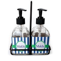 Stripes Soap & Lotion Dispenser Set (Glass) (Personalized)