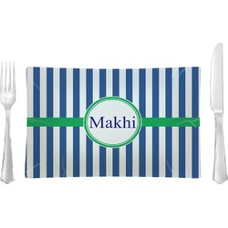 Stripes Glass Rectangular Lunch / Dinner Plate - Single or Set (Personalized)