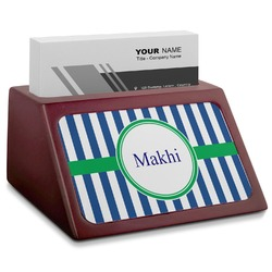 Stripes Red Mahogany Business Card Holder (Personalized)