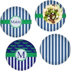 Stripes Set of 4 Lunch / Dinner Plates (Glass) (Personalized)