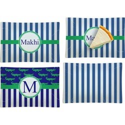 Stripes Set of 4 Rectangular Appetizer / Dessert Plates (Personalized)