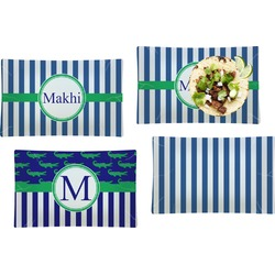 Stripes Set of 4 Rectangular Dinner Plates (Personalized)