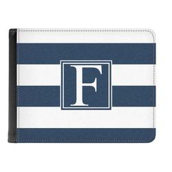 Horizontal Stripe Genuine Leather Men's Bi-fold Wallet (Personalized)
