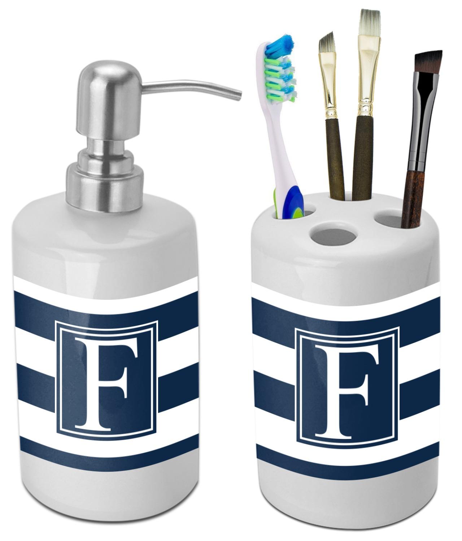 Horizontal stripe bathroom accessories set ceramic for Striped bathroom accessories sets