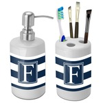 Horizontal Stripe Bathroom Accessories Set (Ceramic) (Personalized)