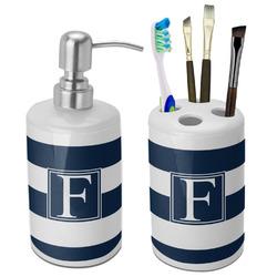 Horizontal Stripe Bathroom Accessories Set (Ceramic) (Personalized)