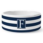 Horizontal Stripe Ceramic Dog Bowl (Personalized)
