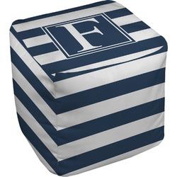 """Horizontal Stripe Cube Pouf Ottoman - 18"""" (Personalized)"""