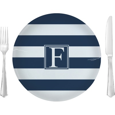 "Horizontal Stripe 10"" Glass Lunch / Dinner Plates - Single or Set (Personalized)"