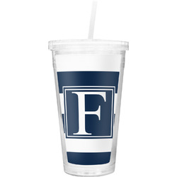 Horizontal Stripe Double Wall Tumbler with Straw (Personalized)