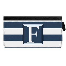 Horizontal Stripe Genuine Leather Ladies Zippered Wallet (Personalized)