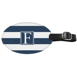 Horizontal Stripe Genuine Leather Oval Luggage Tag (Personalized)
