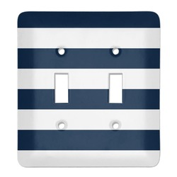 Horizontal Stripe Light Switch Cover (2 Toggle Plate) (Personalized)