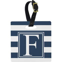 Horizontal Stripe Square Luggage Tag (Personalized)
