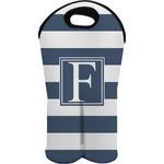 Horizontal Stripe Wine Tote Bag (2 Bottles) (Personalized)