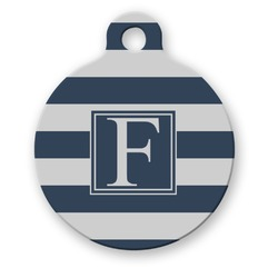 Horizontal Stripe Round Pet Tag (Personalized)