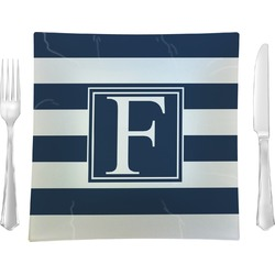 "Horizontal Stripe Glass Square Lunch / Dinner Plate 9.5"" - Single or Set of 4 (Personalized)"