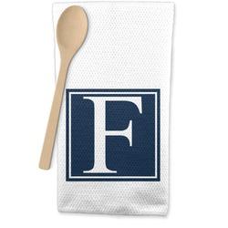 Horizontal Stripe Waffle Weave Kitchen Towel (Personalized)