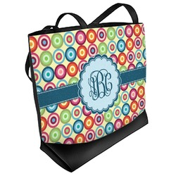 Retro Circles Beach Tote Bag (Personalized)