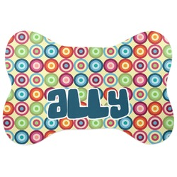 Retro Circles Bone Shaped Dog Food Mat (Personalized)