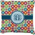 Retro Circles Faux-Linen Throw Pillow (Personalized)