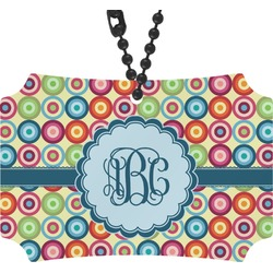 Retro Circles Rear View Mirror Ornament (Personalized)