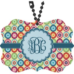 Retro Circles Rear View Mirror Charm (Personalized)
