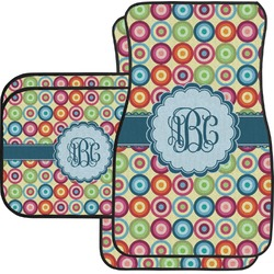 Retro Circles Car Floor Mats Set - 2 Front & 2 Back (Personalized)