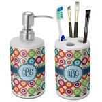 Retro Circles Ceramic Bathroom Accessories Set (Personalized)