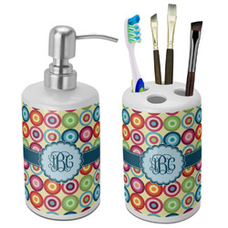 Retro Circles Bathroom Accessories Set (Ceramic) (Personalized)
