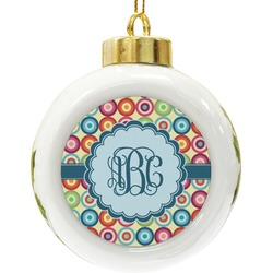 Retro Circles Ceramic Ball Ornament (Personalized)