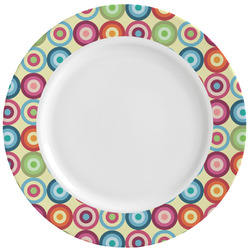 Retro Circles Ceramic Dinner Plates (Set of 4) (Personalized)