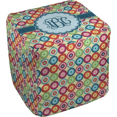 Retro Circles Cube Pouf Ottoman (Personalized)