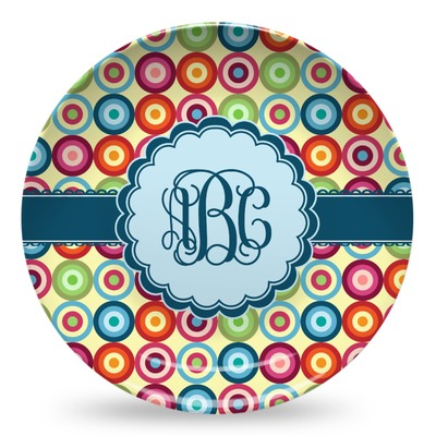 Retro Circles Microwave Safe Plastic Plate - Composite Polymer (Personalized)