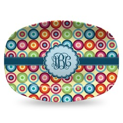 Retro Circles Plastic Platter - Microwave & Oven Safe Composite Polymer (Personalized)
