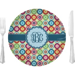 "Retro Circles Glass Lunch / Dinner Plates 10"" - Single or Set (Personalized)"