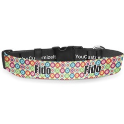 """Retro Circles Deluxe Dog Collar - Extra Large (16"""" to 27"""") (Personalized)"""