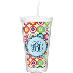 Retro Circles Double Wall Tumbler with Straw (Personalized)