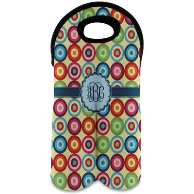 Retro Circles Wine Tote Bag (2 Bottles) (Personalized)